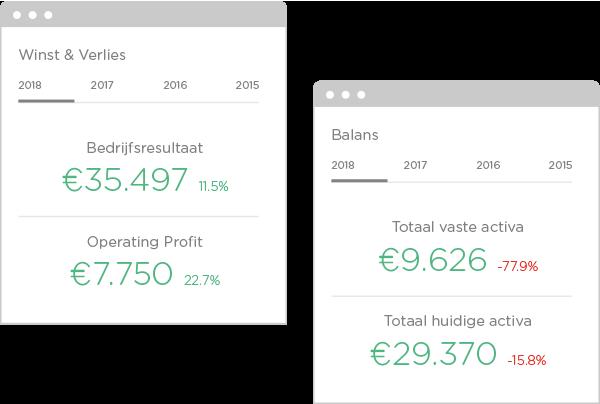 De volgende financiële gegevens zijn altijd terug te vinden in onze rapporten: winst en verlies; balansgegevens; belangrijkste financiële ratio's; cash flow, liquiditeit, reserves & werkkapitaal